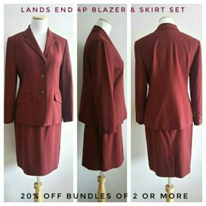 Lands End Cranberry Blazer & Skirt Set (4P)